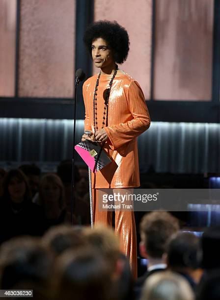 Singer/songwriter Prince speaks onstage during The 57th Annual GRAMMY Awards at STAPLES Center on February 8 2015 in Los Angeles California