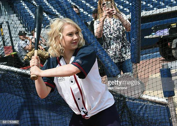 Singer/Songwriter RaeLynn Joins The Nashville Sounds For Warm-Ups To Prep For The 2016 City Of Hope Softball Game at First Tennessee Park on May 16,...