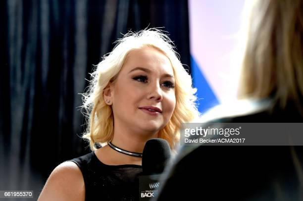 Singersongwriter RaeLynn speaks during the 52nd Academy Of Country Music Awards Cumulus/Westwood One Radio Remotes at TMobile Arena on March 31 2017...