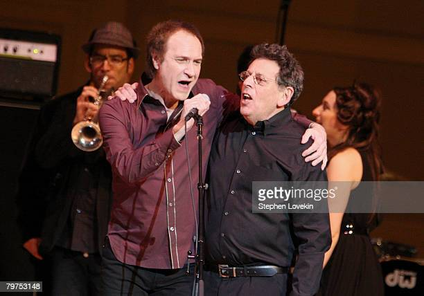 Singer/songwriter Ray Davies and composer Philip Glass perform at The 2008 Tibet House Benefit Concert at Carnegie Hall on February 13 2008 in New...