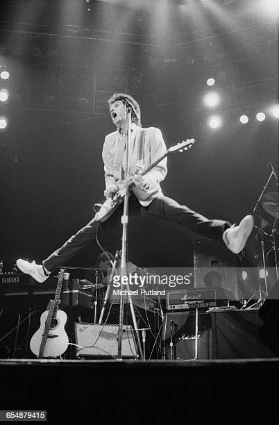Singersongwriter Ray Davies performing with English rock group The Kinks in Boston Massachusetts 1982