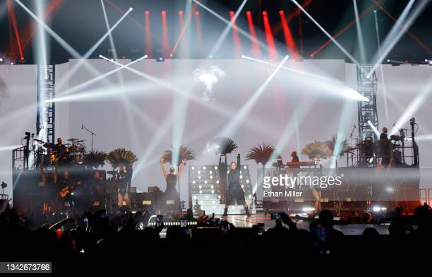 Singer/songwriter Ricky Martin performs on opening night of the Enrique Iglesias and Ricky Martin Live in Concert tour at MGM Grand Garden Arena on...
