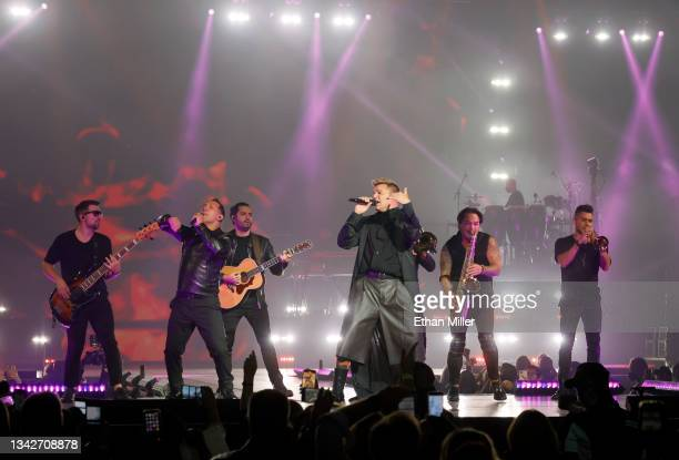 Singer/songwriter Ricky Martin performs with band members on opening night of the Enrique Iglesias and Ricky Martin Live in Concert tour at MGM Grand...