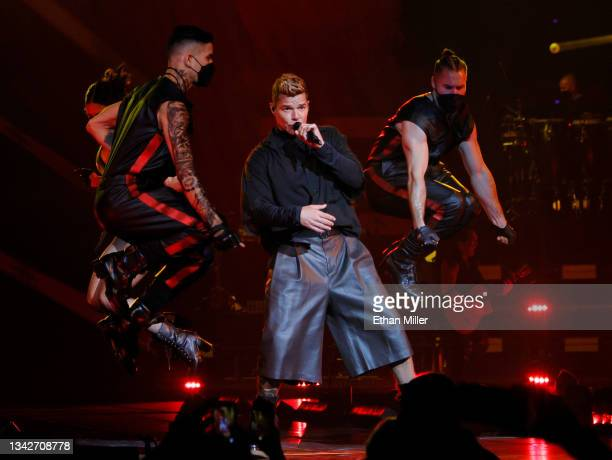 Singer/songwriter Ricky Martin performs with dancers on opening night of the Enrique Iglesias and Ricky Martin Live in Concert tour at MGM Grand...