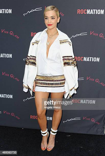 Singer/songwriter Rita Ora arrives at the Roc Nation PreGrammy brunch presented by MAC Viva Glam at a private residency on January 25 2014 in Los...