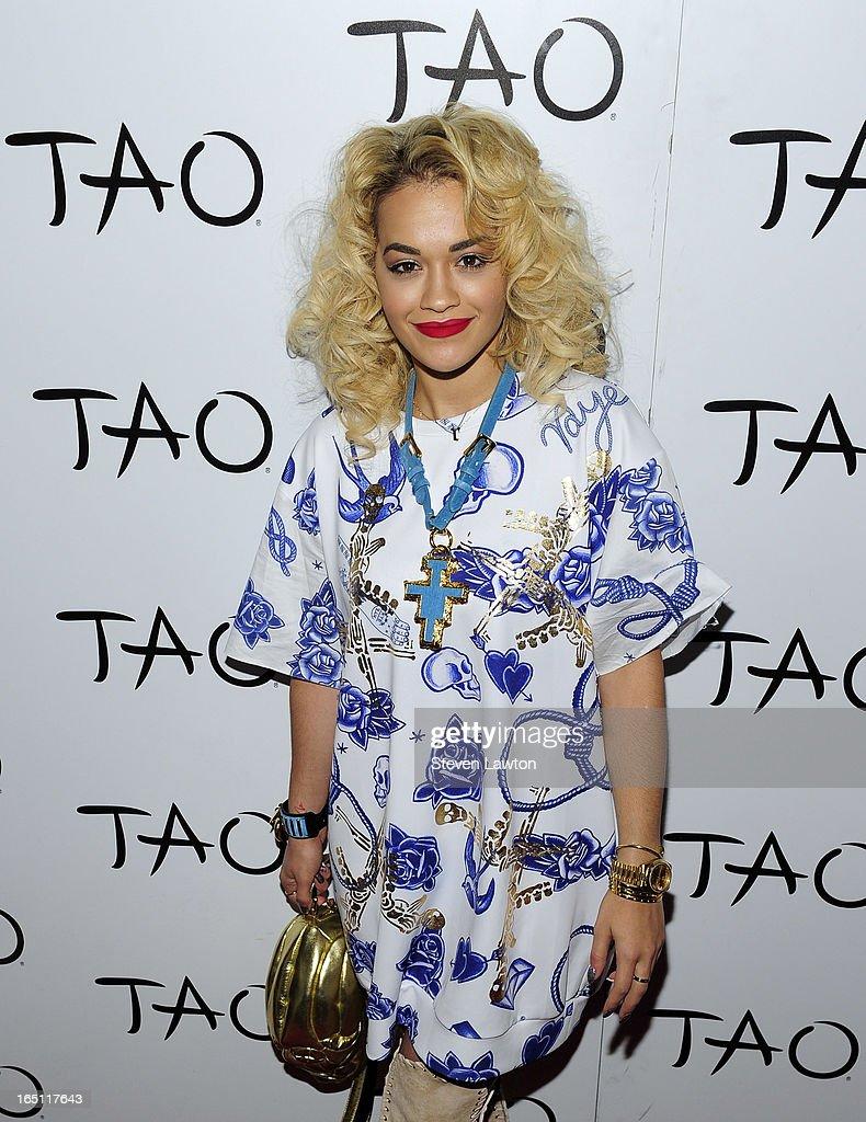Singer/songwriter Rita Ora arrives at the Tao Nightclub at The Venetian Las Vegas on March 30, 2013 in Las Vegas, Nevada.