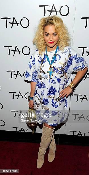 Singer/songwriter Rita Ora arrives at the Tao Nightclub at The Venetian Las Vegas on March 30 2013 in Las Vegas Nevada