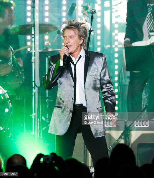Singer/songwriter Rod Stewart perform at the 13th annual Andre Agassi Charitable Foundation's Grand Slam for Children benefit concert at the Wynn Las...