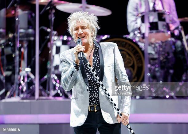 Singersongwriter Rod Stewart performs on stage at Rogers Arena on April 10 2018 in Vancouver Canada