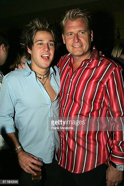 """Singer/Songwriter Ryan Cabrera and manager Joe Simpson at the album release party for Cabrera's Atlantic Records release """"Take it All Away"""" August..."""