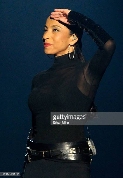 Singer/songwriter Sade salutes as she performs at the MGM Grand Garden Arena September 3 2011 in Las Vegas Nevada