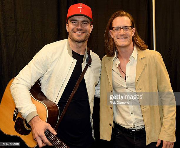 Singersongwriter Sam Hunt and Tyler Hubbard of Florida Georgia Line attend All For The Hall at the Bridgestone Arena on April 12 2016 in Nashville...