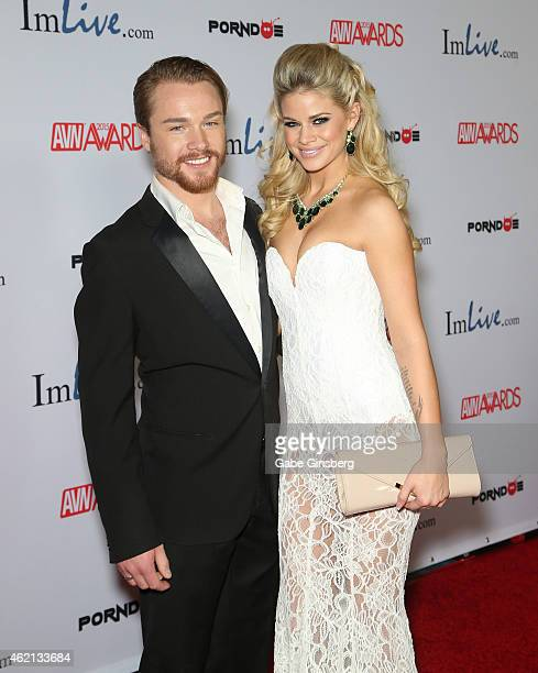 Singer/songwriter Sam J Clark and adult film actress Jessa Rhodes arrive at the 2015 Adult Video News Awards at the Hard Rock Hotel Casino on January...