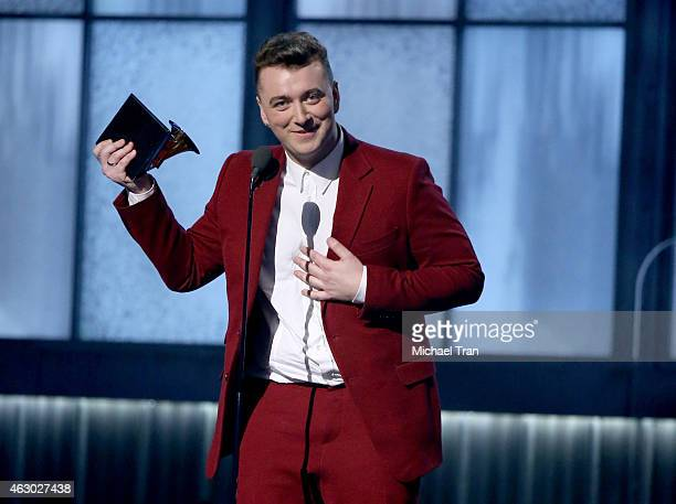 Singer/songwriter Sam Smith accepts an award onstage during The 57th Annual GRAMMY Awards at STAPLES Center on February 8 2015 in Los Angeles...