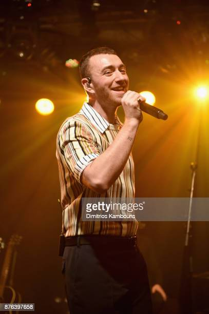 Singersongwriter Sam Smith performs during the iHeartRadio album release party with Sam Smith presented by Ulta Beauty at the iHeartRadio Theater New...