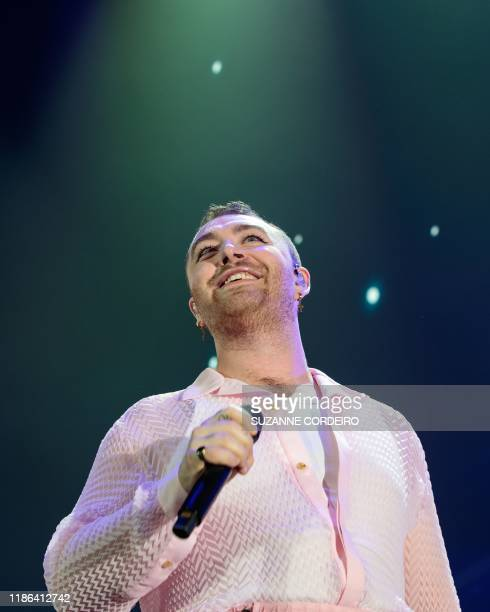 Singersongwriter Sam Smith performs on stage during 1061 KISS FM's iHeartRadio Jingle Ball 2019 at Dickies Arena on December 3 2019 in Fort Worth...