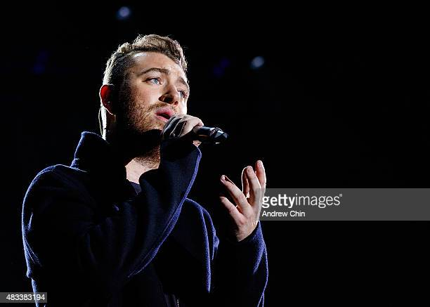 Singersongwriter Sam Smith performs onstage during Day 1 of Squamish Valley Music Festival on August 7 2015 in Squamish Canada