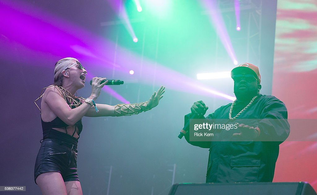 Singer-songwriter Sarah Barthel (L) and rapper Big Boi of Big Grams perform onstage during day two of Free Press Summer Festival on June 5, 2016 in Houston, Texas.