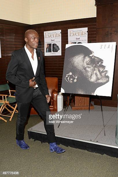 Singer/songwriter Seal poses before signing copies of his album 7 at Barnes Noble at The Grove on November 18 2015 in Los Angeles California