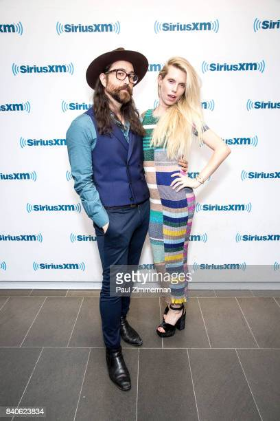 Singer/songwriter Sean Ono Lennon and Theodora Richards host of her new monthly show 'Off The Cuff' on SiriusXM The Spectrum channel pose at SiriusXM...