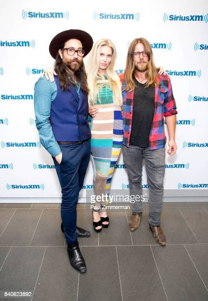 Singer/songwriter Sean Ono Lennon Theodora Richards host of her new monthly show Off The Cuff on SiriusXM The Spectrum channel and Lukas Nelson pose...
