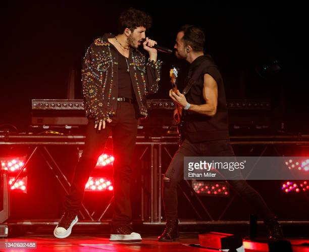 Singer/songwriter Sebastian Yatra performs on opening night of the Enrique Iglesias and Ricky Martin Live in Concert tour at MGM Grand Garden Arena...