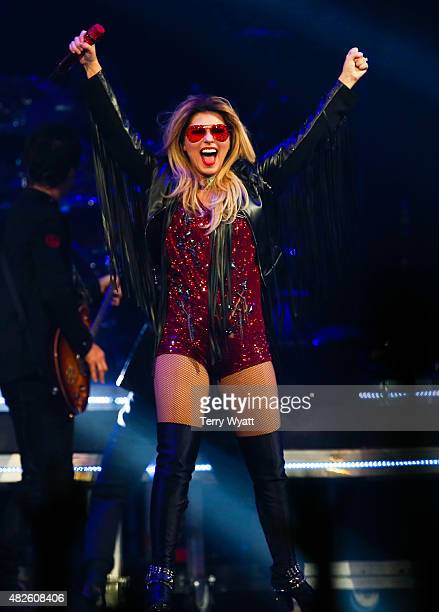 Singersongwriter Shania Twain performs during the Rock This Country tour at Bridgestone Arena on July 31 2015 in Nashville Tennessee