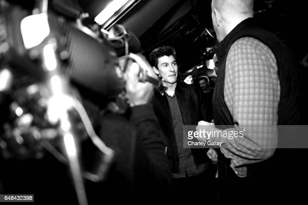 Singersongwriter Shawn Mendes backstage at the 2017 iHeartRadio Music Awards which broadcast live on Turner's TBS TNT and truTV at The Forum on March...