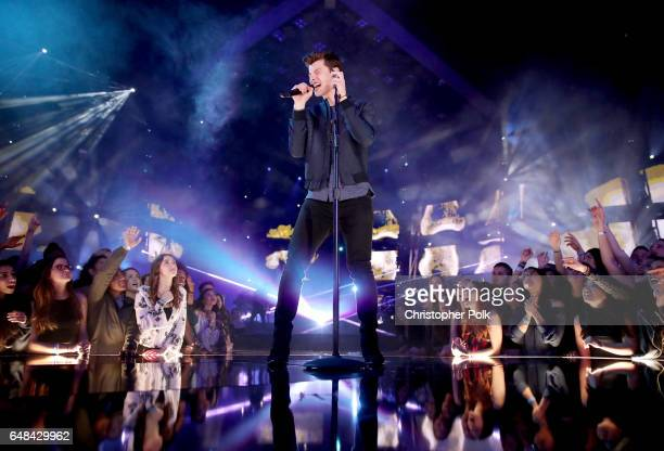 Singersongwriter Shawn Mendes peforms onstage at the 2017 iHeartRadio Music Awards which broadcast live on Turner's TBS TNT and truTV at The Forum on...