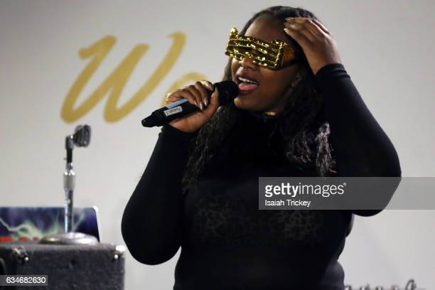 Singer/songwriter Shi Wisdom performs during 'Woke' a hip hop and soul concert at the Harbourfront Centre on February 10 2017 in Toronto Canada