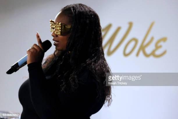 Singer/songwriter Shi Wisdom performs during 'Woke' a hip hop and soul concert at the Harbourfront Centre on February 10, 2017 in Toronto, Canada.