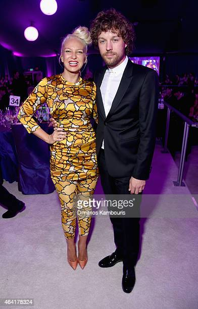 Singer/songwriter Sia and filmmaker Erik Anders Lang attend the 23rd Annual Elton John AIDS Foundation Academy Awards Viewing Party on February 22...