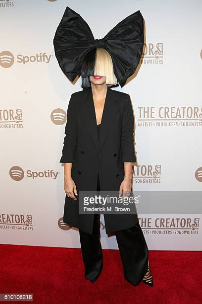 Singer/songwriter Sia attends The Creators Party Presented By Spotify at Cicada on February 13 2016 in Los Angeles California