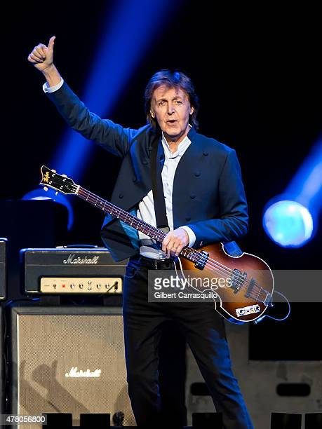 Singer-songwriter Sir Paul McCartney performs during U.S. 'Out There' tour at Wells Fargo Center on June 21, 2015 in Philadelphia, Pennsylvania.