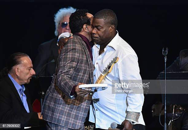 Singersongwriter Smokey Robinson accepts the award for Rocker of the Year from actor Tracy Morgan onstage during Little Kids Rock Benefit 2016 at...