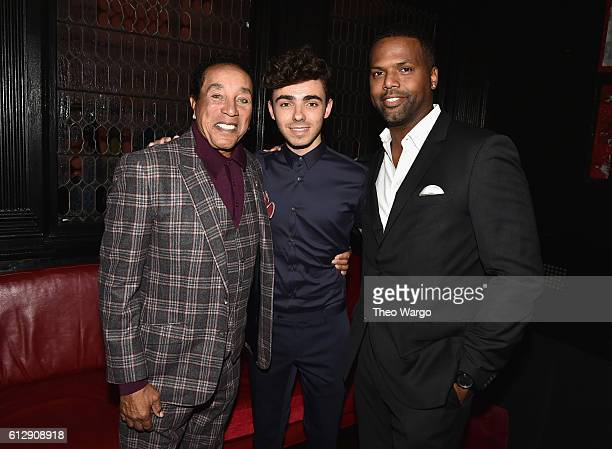 Singersongwriter Smokey Robinson singer Nathan Sykes and television personality AJ Calloway attend Little Kids Rock Benefit 2016 at Capitale on...