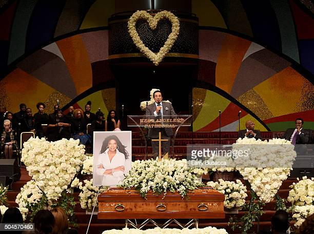 Singersongwriter Smokey Robinson speaks at a Celebration Of Natalie Cole's Life at the West Angeles Church of God in Christ on January 11 2016 in Los...