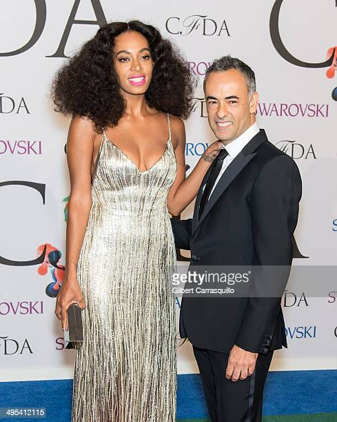 Singersongwriter Solange Knowles and Designer Francisco Costa attend the 2014 CFDA fashion awards at Alice Tully Hall Lincoln Center on June 2 2014...