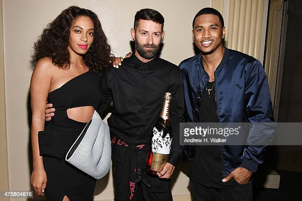 Singersongwriter Solange Knowles fashion designer Marcelo Burlon and singersongwriter Trey Songz attend the Moet Nectar Imperial Rose x Marcelo...