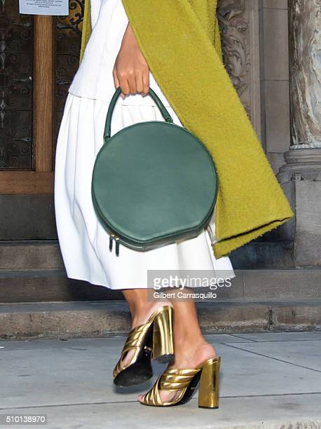 Singersongwriter Solange Knowles handbag and shoe detail is seen outside the Alexander Wang Fall 2016 fashion show during New York Fashion Week at St...