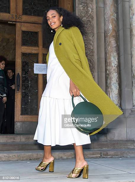 Singersongwriter Solange Knowles is seen outside the Alexander Wang Fall 2016 fashion show during New York Fashion Week at St Bartholomew's Church on...