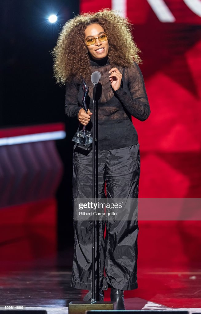 Singer-songwriter Solange Knowles speaks onstage during Black Girls Rock! 2017 at New Jersey Performing Arts Center on August 5, 2017 in Newark, New Jersey.