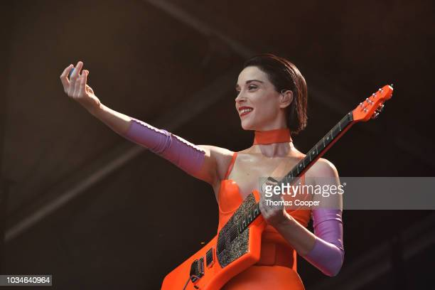 Singersongwriter St Vincent on day three of the Gandoozy Music Festival at Overland Park Golf Course on September 14 2018 in Denver Colorado