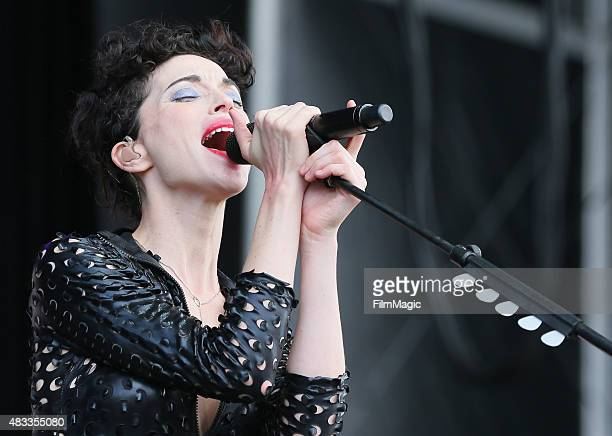 Singer/songwriter St Vincent performs at the Lands End Stage during day 1 of the 2015 Outside Lands Music And Arts Festival at Golden Gate Park on...