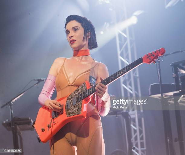 Singer-songwriter St. Vincent performs in concert as part of an 'Official 2018 ACL Fest Late Night Show' at Stubb's Bar-B-Q on October 5, 2018 in...