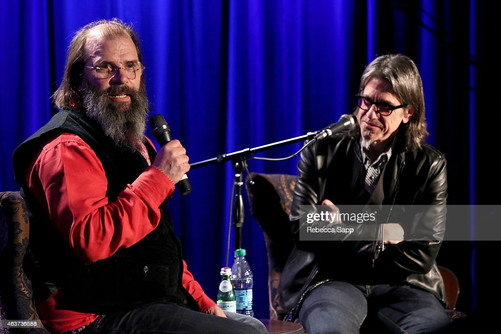 Singer/songwriter Steve Earle speaks with Vice President of the GRAMMY Foundation Scott Goldman at The Drop: Steve Earle at The GRAMMY Museum on February 17, 2015 in Los Angeles, California.
