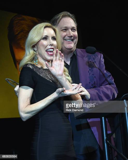 Singer/Songwriter Steve Wariner presents award to Glen Campbell's wife Kim Campbell during Music Biz 2017 Industry Jam 2 at the Renaissance Hotel on...