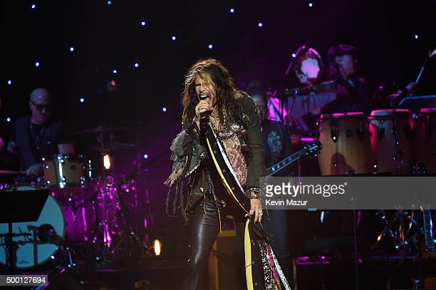 Singersongwriter Steven Tyler performs on stage during the Imagine John Lennon 75th Birthday Concert at The Theater at Madison Square Garden on...