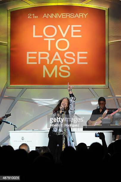 Singer/songwriter Steven Tyler performs onstage during the 21st annual Race to Erase MS at the Hyatt Regency Century Plaza on May 2, 2014 in Century...