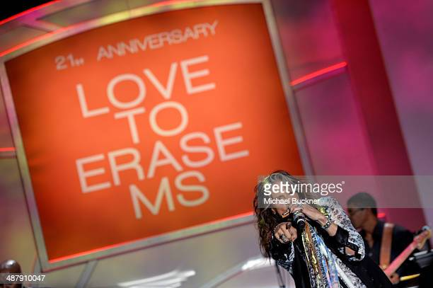 Singer/songwriter Steven Tyler performs onstage during the 21st annual Race to Erase MS at the Hyatt Regency Century Plaza on May 2 2014 in Century...